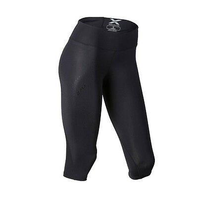 2XU Mid Rise Womens Compression 3/4 Tights Black/Dotted Black Logo
