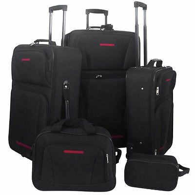 5-Piece Luggage Travel Set Expandable Trolley Suitcase Duffel Bag Boarding Black
