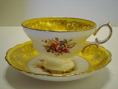 Vintage Hammersley English Bone China Tea Cup and Saucer Floral Gold Guild