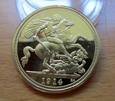 1914 King George Sovereign Coin 999. 24k Pure Gold Plated Beautiful Coin