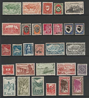 FRENCH COLONIES STAMPS LOT - MH & USED – 2 pages/scans - MIXED CONDITION