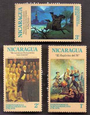NICARAGUA (32/3) 1976 Paintings, Horse, Lighthouse, Flag 3 Diff. Stamps ! Mint