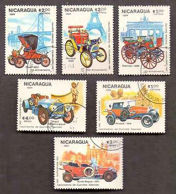 NICARAGUA (13/3) 1984 Vintage Cars Transports 6 Diff Used Stamps !