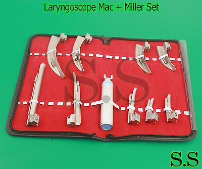 Laryngoscope Mac + Miller Set 9 BLADES AND 1 HANDLE EMT Anesthesia Intubation