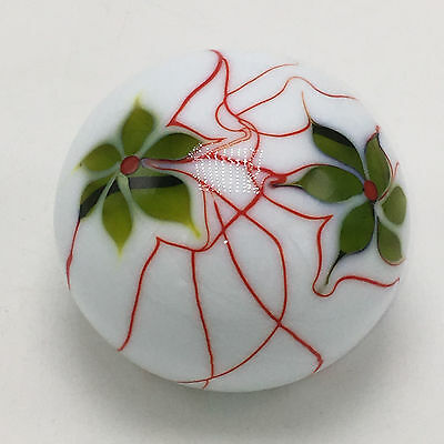 Smyers 1975 Northern Star Art Glass Paperweight Green Flowers with Red Veins