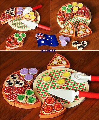Wooden Pizza Play Food Set Wooden Toy Kids Pretend Kitchen Childrens Cooking BOO
