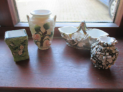 4 victorian vases ,with applied flowers