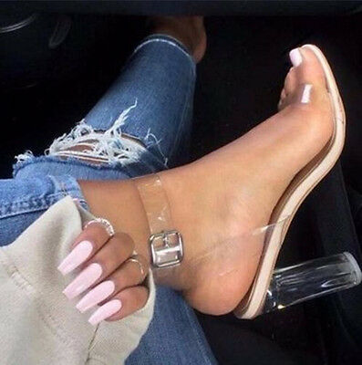 Women's High Clear Heels Ankle Strappy Open Toe Ladies Sandals Shoes Fashion