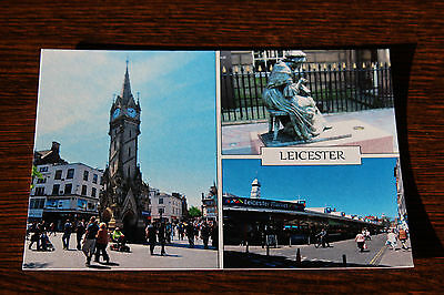 Leicester Clock Tower, Seamstress, Market, England Multiview Postcard