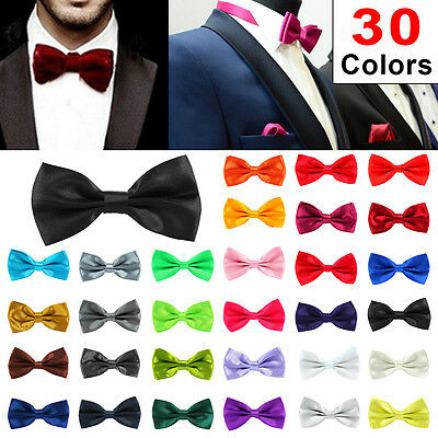 30Colour Satin Mens Pre Tied Plain Bow Tie Wedding Party Prom Dress Necktie Ties