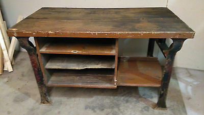 Antique/Vintage Wood & Metal Industrial Workbench with Cast Iron Legs