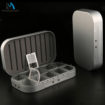 Aluminum Fly Fishing Box Fishing Tackle Box Slotted Foam Insert Compartment