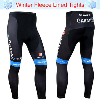 Mens Team Cycling Tights Winter Thermal Padded Legging Pants Cycle Long Trousers