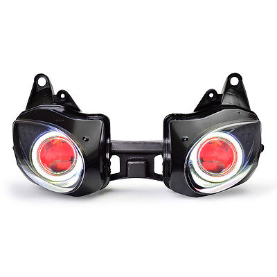 KT LED Angel Halo Eye Headlight Assembly for Kawasaki Ninja ZX-6R 2007-2008 Red