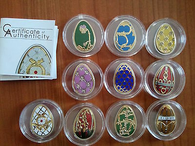 10 silver coins set Limited Edition egg Faberge Imperial Eggs Cook Islands eggs