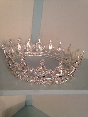 Silver Clear Diamond  Crown . Wedding Crown . Prom / Stage Prop Full Crown