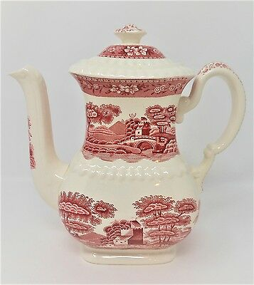 Copeland Spode Spode's Tower Red Pink Transferware Coffee Pot Old Mark 1920s *2
