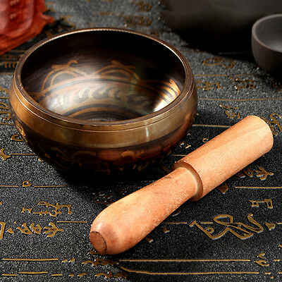 Yoga Singing Bowl Brass Buddhism Chime Acoustic Resonance with Mallet Stick