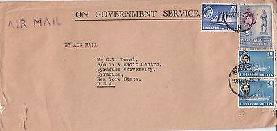 L 1909 Singapore OGS air 1961 cover USA; 4 stamps; $2.20 rate