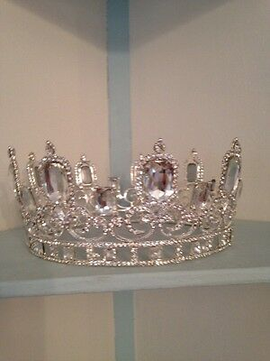 Full Large Silver Crown . King /queen Crown . 6 1/2 Inch Diameter . 8 Cms Tall .