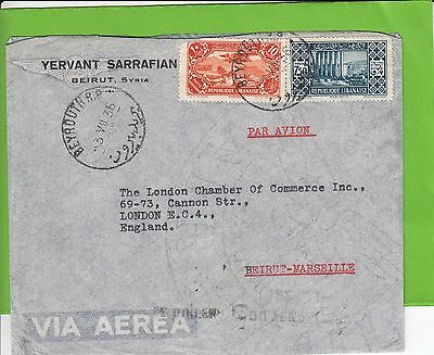 M 1577 Lebanon Beirut 1936 airmail cover to UK