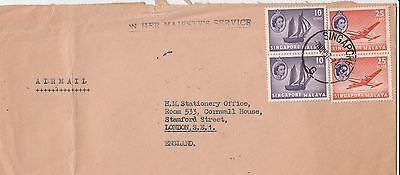M 157 Singapore  1957 OHMS air cover to UK; 70c rate; 4 stamps