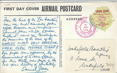 M 1699 Sierra Leone First day Postcard 1964; 7c rate; free form stamp