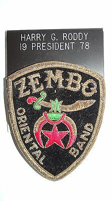 1978 Shrine Masons Freemason Zembo Oriental Band President Patch