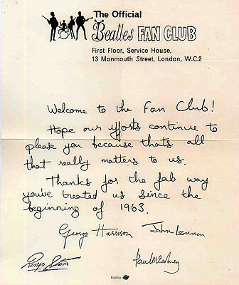 THE BEATLES REPRO 1960's HAND SIGNED BY ALL 4 BEATLES AUTOGRAPH FAN CLUB LETTER