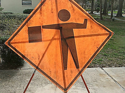 "Flagger Symbol 48"" X 48"" Fluorescent Roll Up Sign And Tripod Stand"
