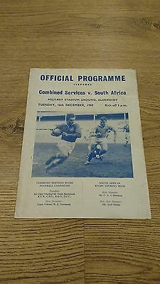 Combined Services v South Africa 1969 Rugby Union Programme