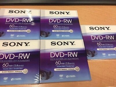SONY DVD-RW 2.8GB 8cm 60min Rewritable Camcorder Mini DVD Disc Double Sided NEW