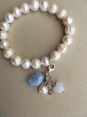 White Cultured Pearl Stretch Bracelet Sterling Silver Clip on 5 Charms Bridal