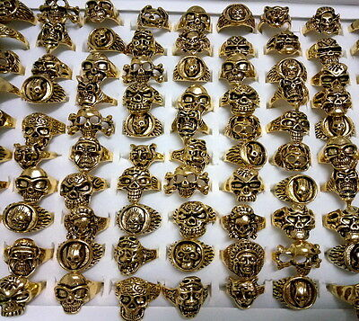 wholesale lots mixed 20pcs skull carved vogue unisex vintage gold Gothic rings