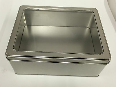 Rectangular tin with hinged window lid perfect for cake