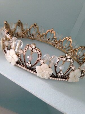 Antique Brass And Natural Shell Crown . Pageant Crown . Photo Shoot Crown . Full