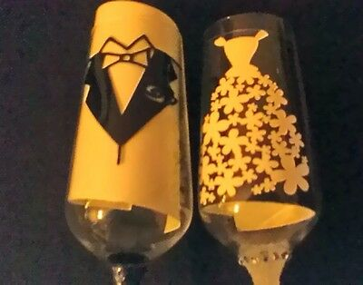 Vinyl Decals/Stickers for DIY Decorated Wine Glasses. Wedding Dress and Jacket
