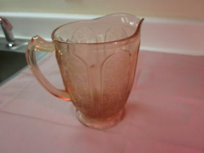 Antique Cherry Blossom 8 Inch Water Pitcher Depression Glass Jeannette Glass Co.