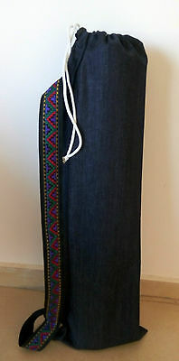 Yoga mat bag pilates denim handmade cotton strong quilted strong red aztec strap