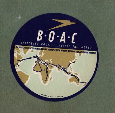 B.O.A.C. Airline luggage label Baggage #665