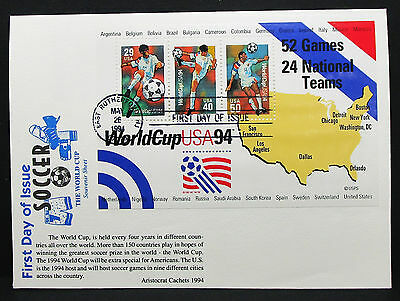 US Soccer World Cup Aristocrat Cachets Cover FDC 1994 USA Ersttagsbrief (H-7997