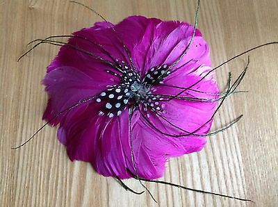 """Hair Fascinator Or Bag, Hat Brooch Large Dark Pink Feather Circle 6"""" Sparkly"""
