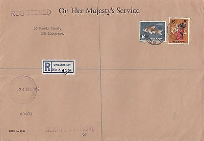 M 2096 Singapore OHMS reg internal cover; British Military Forces 60c rate