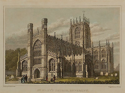 19th Century Hand Coloured Engraving, St Mary's Church, Beverley, Yorkshire