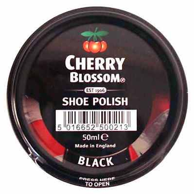 Cherry Blossom Black Shoe Polish For Smooth Leathers 50ml Tin