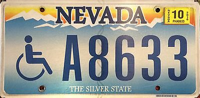 Nevada Handicapped Disabled Wheelchair License Plate A 8633