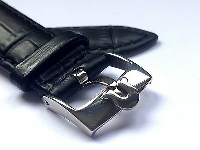 18Mm Omega Genuine Leather Watch Strap Black Stainless Steel Buckle (Ws-S3)