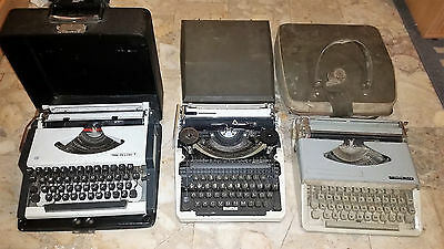 Lot Of 3 Three Vintage Old Portable Typewriter With Case