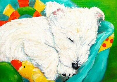 West Highland Terrier ACEO WESTIE PRINT Painting DREAMING Dog RANDALL