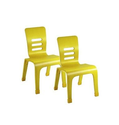 """Baby's First Chair 6"""" Yellow Wooden Small Chairs, Set Of 2"""